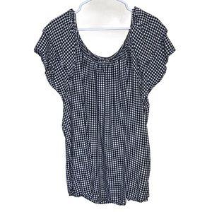 Terra & Sky checkered blouse black white 3X